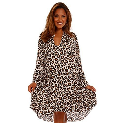 YC Fashion & Style Damen Tunika Kleid mit Leopard Muster Party-Kleid oder Freizeit-Minikleid H219...