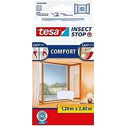 tesa Moustiquaire Comfort Bande Velcro pour Fenêtres, Blanc, 1,2m:2,4m