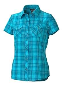 Marmot Damen Bluse Audrey Plaid Short Sleeve, blue sea, XL, 67350-2264-6