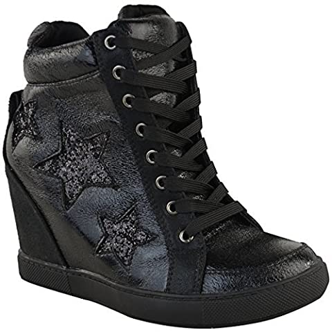 Womens Ladies Hidden Wedge Lace Up Trainers High Top Sneakers