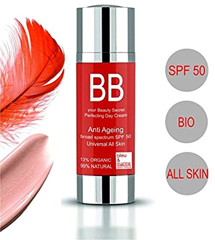 BB Cream Organic Anti Ageing Sun Protection ● Universal Light Organic FPS 50 BB Cream 99% Natural, 13% Bio. ● by bleumarine Bretania ● Made in France ● 30 ml