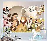 Selbstklebende Fototapete - Kindertapete - Tiere Cartoon - Vintage - 200x150 cm - Wandtapete – Poster – Dekoration – Wandbild – Wandposter - Bild – Wandbilder - Wanddeko