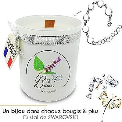 Bougie Bijoux Patchouli Bracelet avec Cristal de Swarovski. Parfum de Grasse et mèche en bois. Le bijou caché se dévoile après 30 minutes ! Coffret CADEAU Bracelet