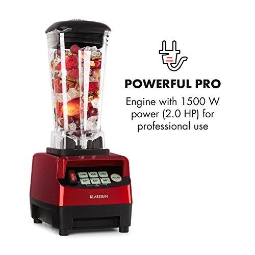 Klarstein Herakles-5G • Batidora de vaso • Batidora americana • Smoothie Maker • 1500 W • Libre de BPA • 40.000 Revoluviones por minuto • 2 Litros de capacidad • Función Pulso • Rojo