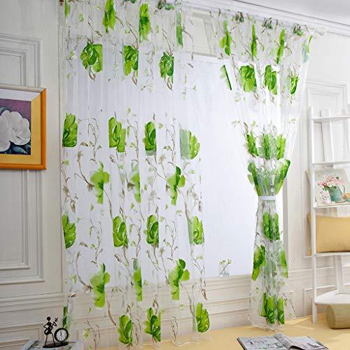 Mitlfuny-> Haus & Garten -> Wohnkultur,1 STÜCKE Reben Blätter Tüll Türfenstervorhang Drapieren Panel Sheer Schal Volants