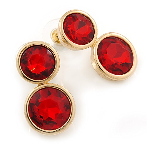 Doble rojo de piedra de cristal pendiente del perno prisionero de oro
