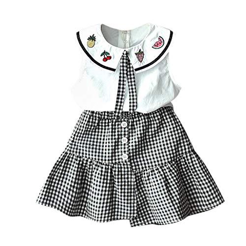 Mitlfuny Kleidung Set Kleid Damen Sommer Elegant Baby Mädchen Outfits & Set,Kleinkind Kinder Baby Mädchen Outfits Kleidung Stickerei T-Shirt Weste + Plaid Rock Set