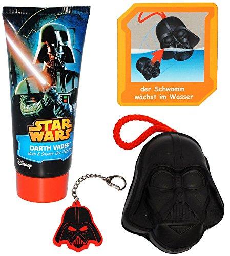 alles-meine.de GmbH 4 TLG. Set _ Badeset -  Star Wars / Darth Vader  - Bade & Duschgel & Schwamm & Schlüsselanhänger - Geschenkset - Kinder / Jungen - Luke Skywalker Starwars -..