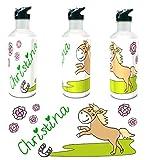 Kinderlampenland Personalisierte Trinkflasche Pferd mit Wunschname 400ml