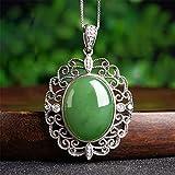 DHCY Collar de Plata esterlina 925 para Mujer Colgante de Jade Natural de Hetian Zirconia cúbica AAA Collar de Moda Vintage de Jade Verde joyería de Moda