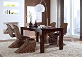 massivum Tisch 150x90+4 Schwingstühle Maddox Rattan, Holz, Kolonial, 90 x 150 x 75 cm