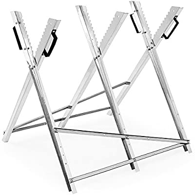 Folding Sawhorse With Handles Made Of Galvanized Steel - Durable 150-kg Wood Sawing Cutting Aid