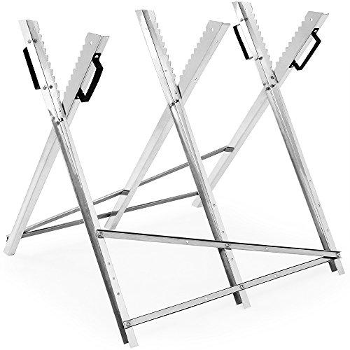 Sägebock für Kettensäge verzinkt 150kg Belastbarkeit mit Haltegriffen Sägegestell Holzsägebock Holzschneidebock Motorsäge