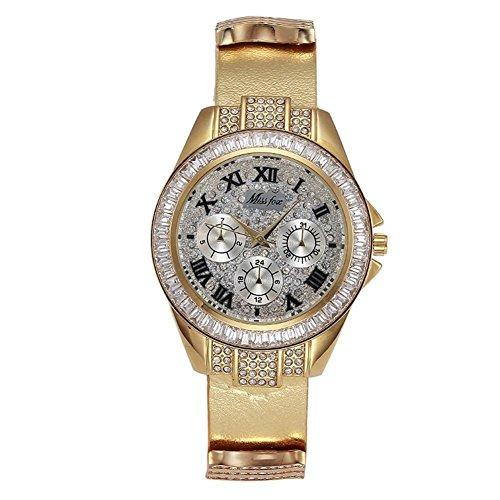 Kal Crystal (Damen Leder Armband Crystal Alloy Diamant Quarz-Uhr , 2)