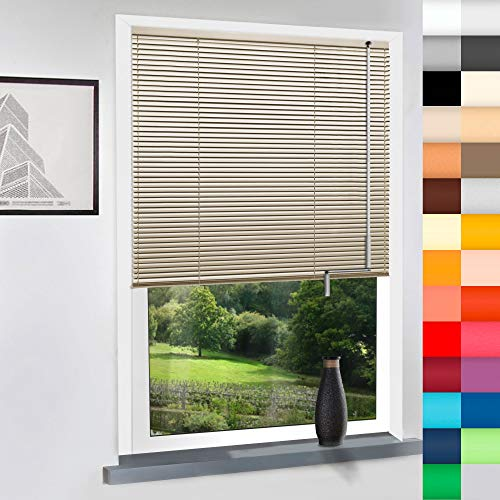 Aluminium Jalousie nach Maß, Bedienung mit Kurbel, hochqualitative Wertarbeit, Maßanfertigung, für Fenster und Türen, Alu, Fenster, Wand oder Decke (Beige, Höhe: 130cm x Breite: 65cm)