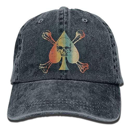 Voxpkrs Vintage Ace of Spade Poker Liebhaber Klassische Unisex Baseballmütze Einstellbar Washed Dyed Cotton Ball Hut Schwarz DV2056 Ace Vintage Hut