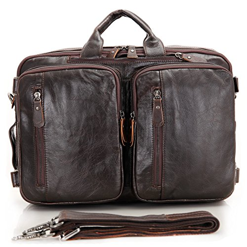 Genda 2Archer in Pelle da Uomo Borsa Viaggio D'affari, il Sacchetto di Fine Settimana di Vacanza (Marrone) Caffé scuro