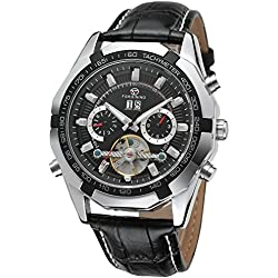 Forsining Men's Automatic Self-winding Tourbillion Day Calendar Leather Strap Wrist Watch FSG340M3T1