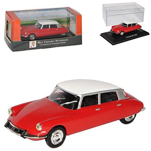 Atlas Citroen DS19 Limousine Rot mit Weiss 1955-1968 mit Sockel und Vitrine 1/43 Modell Auto - Modell Citroen