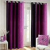 #1: Luxury Homes Set of 2 Window/Door Crush Faux Silk Polyster Designer Curtains (7 feet - Windows/Door) - Magenta Multi