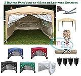 Mcc@home Gazébo/kioske/pavillon/ tente/tonnelle/auvent/abri de jardin résistant à l'eau, 3x3m, couleur beige avec couche protectrice argentée, 2 barres pare-vent et sacs de lestage