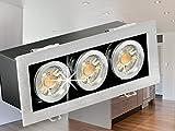 LED Einbau-Strahler K3 schwenkbar, [Decken-Leuchte] Aluminium gebürstet, 3 Leuchtmittel á 7W SMD LED WARM-weiß in schöner Halogenoptik DIMMBAR GU10 230V [IHRE VORTEILE: hervorragende LEUCHTKRAFT, LICHTQUALITÄT und VERARBEITUNG]