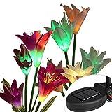 Die besten Landschaftsbau Lichter - uipong 2 Stück Solarbetriebene Gartenleuchten mit 8 Lilienblumen Bewertungen