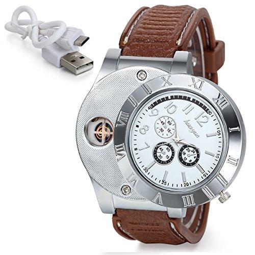 JewelryWe Herren Armbanduhr, Analog Quarz Silikon Armband Uhr mit USB aufladbare elektronische Winddicht flammenlose Zigarettenanzünder, Braun