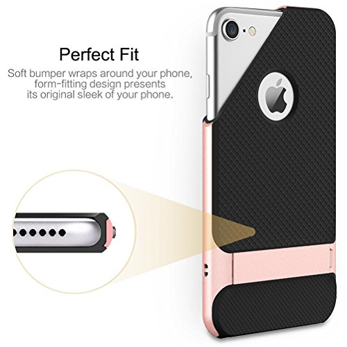 "MOONCASE iPhone 7 Plus Coque, Hybride Housse Etui Antichoc TPU +PC Bumper Dual Layer Protection Case avec Béquille pour iPhone 7 Plus 5.5"" (Noir Rose Or) Noir & Or"