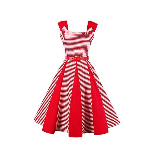 iShine Retro Kleider Damen Knielang 50s Vintage Swing Rockabilly Kleid Faltenrock damen Abendkleider Partykleider Cocktailkleid Rot/Mit Streifen