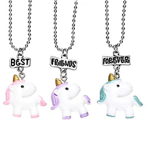 OAONNEA BFF Best Friends Resina Unicornio Collares Mejores Amigas para 3 Niñas