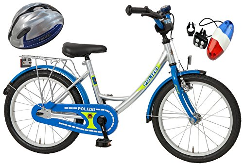 Bachtenkirch Kinderfahrrad Blau/Silber 18 Zoll POLIZEI mit Fahrradhelm & Sirene (434-PZ-40)