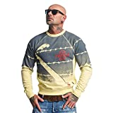 Yakuza Original Herren Read Crow Pullover Sweater, Pastel Yellow Moonwashed - 3XL