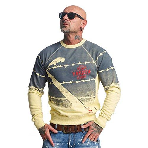 Yakuza Original Herren Read Crow Pullover Sweater, Pastel Yellow Moonwashed - 4XL