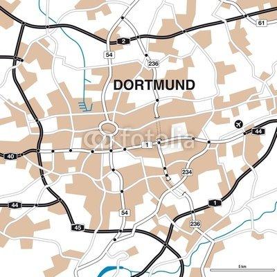 "Alu-Dibond-Bild 100 x 100 cm: ""Stadtplan/Umgebungskarte Dortmund"", Bild auf Alu-Dibond"