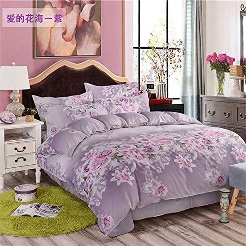 Fcao-Bettwäsche, 3 STÜCK Oder 4 Stücke Bettwäsche-Sets Pflegeleicht Ultra Weiche Bettbezug + Bettlaken + Kissenbezug King Size Bettwäsche (Color : Plum, Size : Queen) -