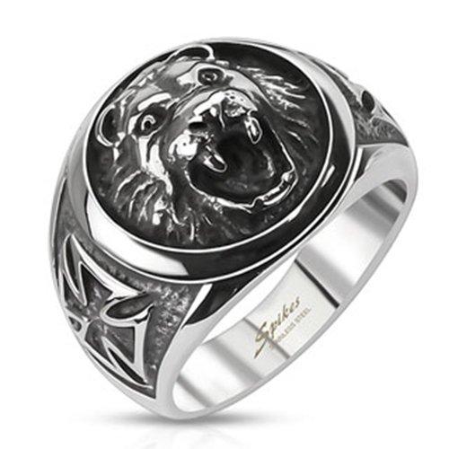 Anello leone BlackAmazement drachensilber a forma di croce in acciaio inox massiccio argento Biker Tiger Cross uomo, Acciaio inossidabile, 33