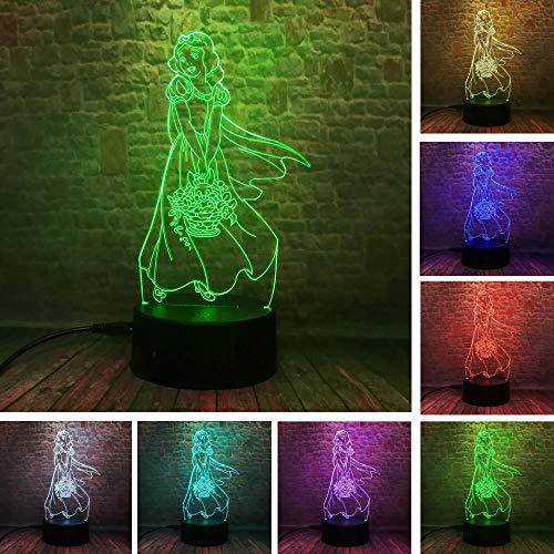 Nachtlicht Dekoration Schreibtischlampen 3D LED Creative Geschenk Schöne elegante Prinzessin Mädchen Blume 7 Farbe Verdunkelung Farbverlauf Hochzeit Dekor Kind Kinder Geburtstag Weihnachten