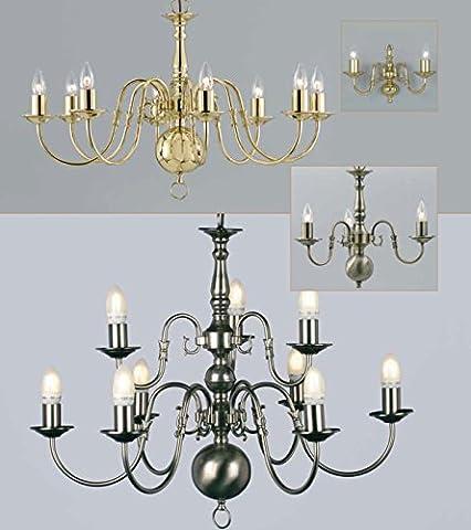 Flemish chandelier - pewter 3 lights