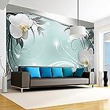 murando - Fototapete Blumen 350x256 cm - Vlies Tapete - Moderne Wanddeko - Design Tapete - Wandtapete - Wand Dekoration - Blume weiß grau silber blau Orchidee Ornament Abstrakt b-A-0078-a-d