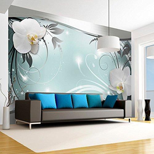 murando - Fototapete Blumen 250x175 cm - Vlies Tapete - Moderne Wanddeko - Design Tapete - Wandtapete - Wand Dekoration - Blume weiß grau silber blau Orchidee Ornament Abstrakt b-A-0078-a-d
