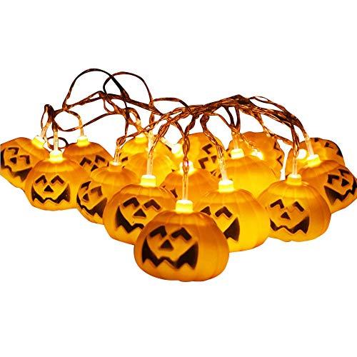 TIREOW Halloween - LED 10 Kürbis Lichterkette, ca. 150 cm, fröhlicher Kürbis
