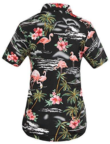 SSLR Damen Blumen Flamingos Freizeit Aloha Hawaii Blusen Schwarz