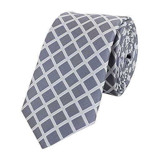 Fabio Farini Schmale 6-cm Slim Krawatte verschiedenen Farben, geeignet für Arbeit, Hochzeit oder Ball, Grau-Weiß kariert -