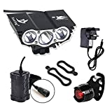 Galwad Store®6600Lm U2 XML 3 CREE LED Mountain Cycle lights Front Bike lights Bicycle Light Headlamp Torch Headlight Rechargable Head Lights Flashlight with 4x18650 Waterproof Battery Pack Rear Light (Red Black) (X3 Black)