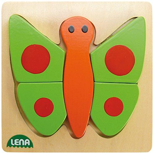 Lena 32067 - Holzpuzzle Schmetterling  mit 5 Puzzleteilen
