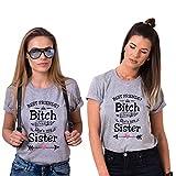 Best Friends T-Shirts für 2 Mädchen mit Aufdruck Sister Shirts für Zwei  Damen Freunde Tshirts BFF Geschenke (Grau, S + S) 8f565cb5ef
