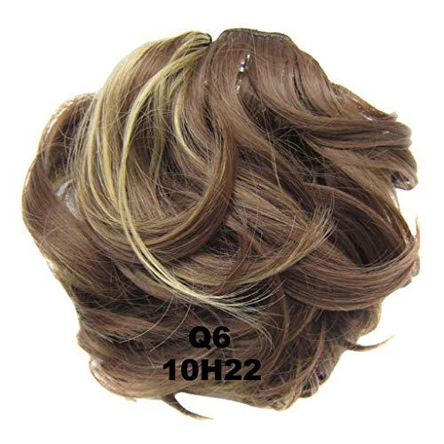 PrettyWit gewellte lockige Haar Hochsteckfrisur Erweiterungen Stück Perücke Haarteil Pferdeschwanz Braut Kordelzug (Medium Golden Brown & Ash Blonde 10H22) - Golden Brown-haar-perücke