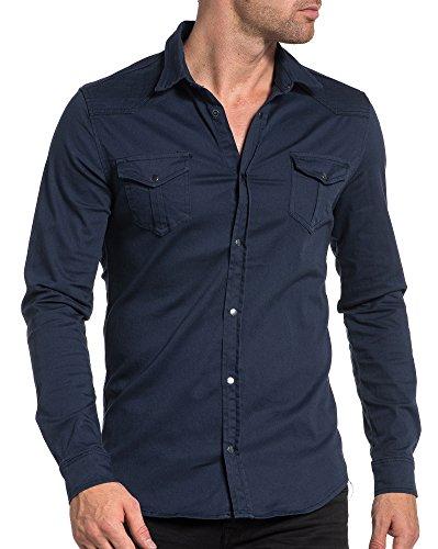 BLZ jeans - Chemise homme fashion en jean bleu foncé Bleu