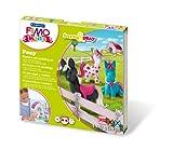 Staedtler 8034 08 LY Fimo kids form&play Set Pony superweiche, ofenhärtende Knete, kinderleichte Anleitung, wiederverschließbare Box, Set mit 4 Fimo Blöcken, 1 Modellierstab und 1 Spielkulisse